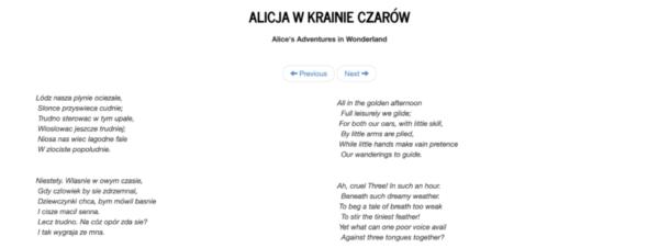 Alice in wonderland in Polish