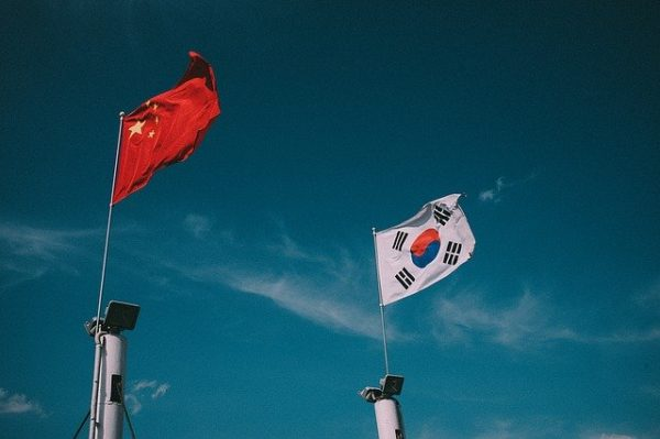 chinese and korean flags