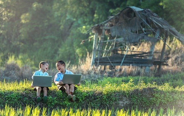 children playing to learn language, not study