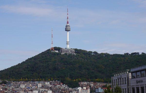 namsan tower sits above seoul, south korea