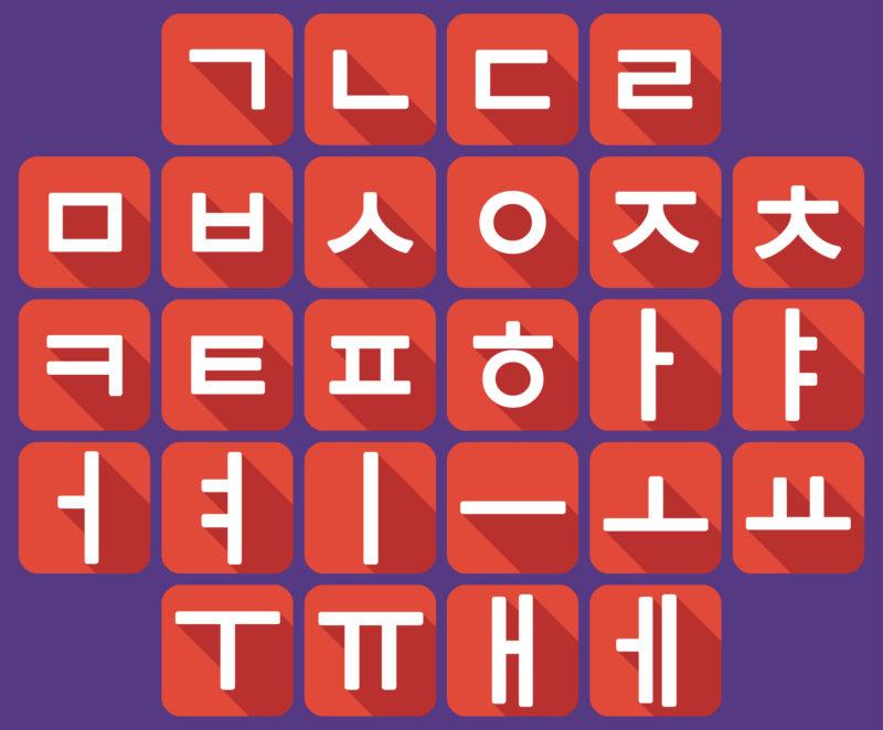 graphic of korean writing system called hangul