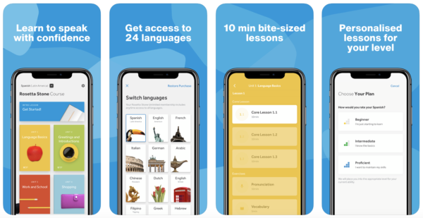 Rosetta stone is one of the oldest langauge learning apps
