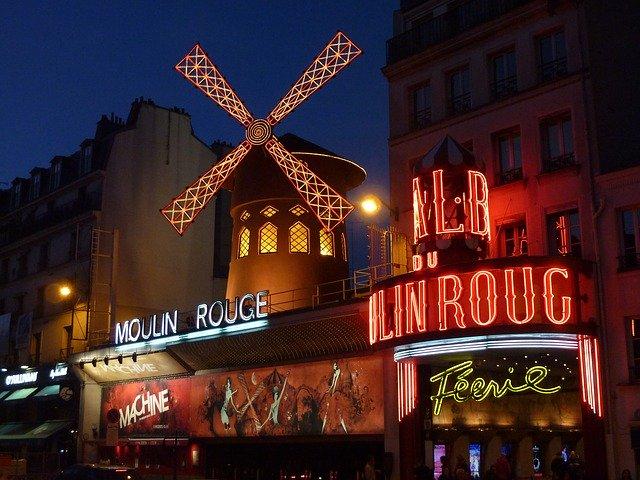 The Moulin Rouge is a word famous Paris cabaret club.