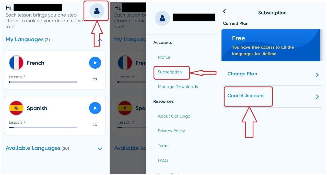 how to cancel optilingo subscription